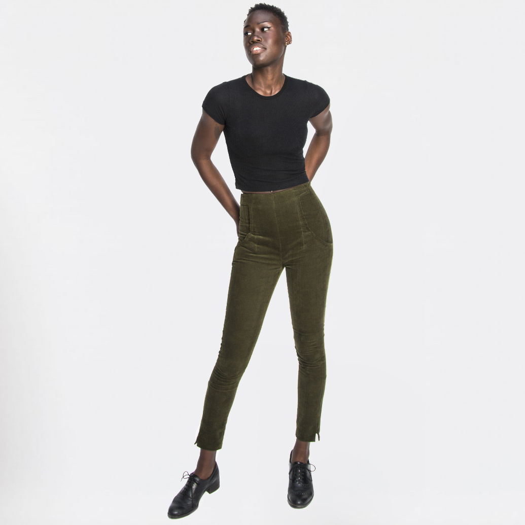 High-Waist-Cordhose-Olive-front